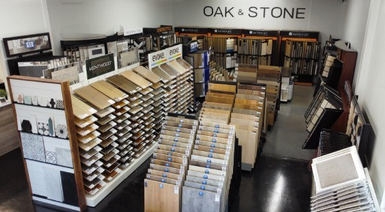 Image presents the Oak & Stone Floors showroom, store, shop in Portland Oregon, which provides flooring, floor covering products and floor installation supplies for residential, home, commercial and offices.